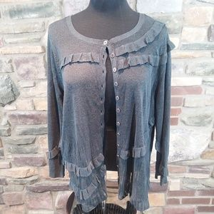 Nic + Zoe ruffle knit gray cardigan sweater 2x
